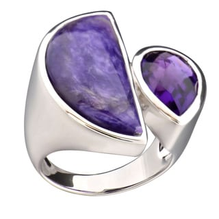 Brass Half Moon Charoite and Amethyst Ring