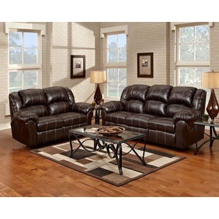 Brandan Bonded Leather Dual Reclining Sofa and Loveseat, Brown