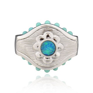 Sterling Silver Round sync Opal and Turquoise Ring