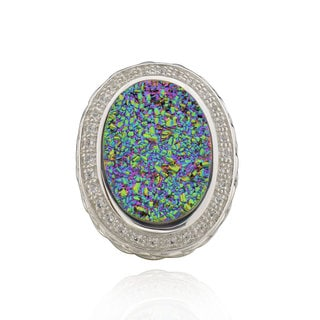 Sterling Silver Oval Druzy and White Topaz Ring