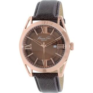 Kenneth Cole Men's New York KC8073 Brown Tpu Leather Analog Quartz Watch