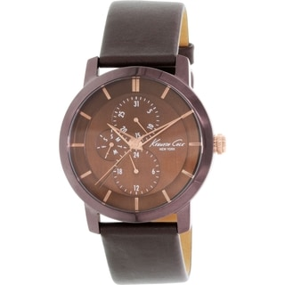 Kenneth Cole Men's New York KC8107 Brown Leather Analog Quartz Watch