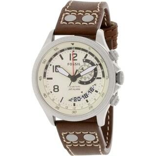 Fossil Men's FS5043 Brown Leather Analog Quartz Watch