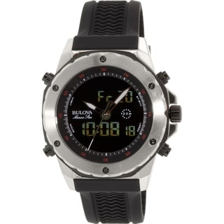 Bulova Men's Marine Star 98C119 Black Rubber Analog Quartz Watch