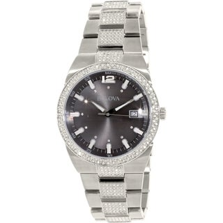 Bulova Men's Crystal 96B221 Stainless Steel Quartz Watch