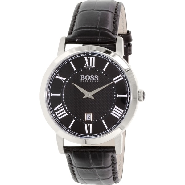 Hugo Boss Men's 1513137 Black Leather Quartz Watch
