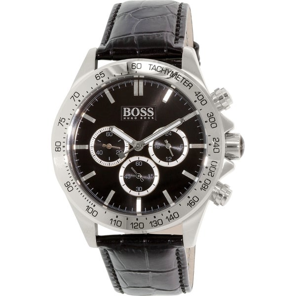Hugo Boss Men's 1513178 Black Leather Quartz Watch