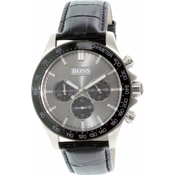 Hugo Boss Men's Ikon 1513177 Black Leather Quartz Watch