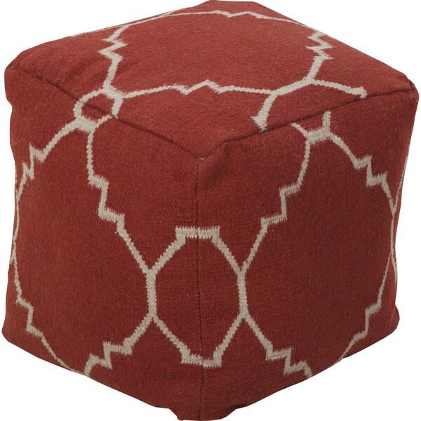 Geometric Metz Square Wool 18-inch Pouf