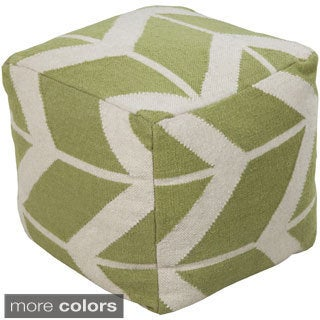 Chevron Lupe Square Wool 18-inch Pouf