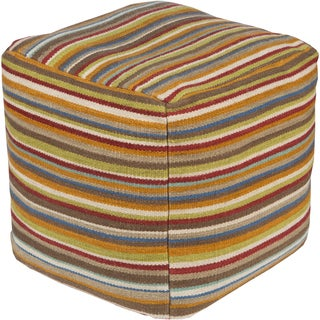 Striped Loos Square Wool 18-inch Pouf