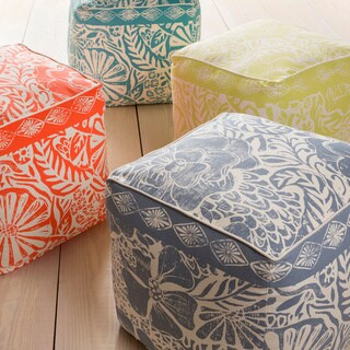 KD Spain: Floral Jixi Square Cotton 18-inch Pouf
