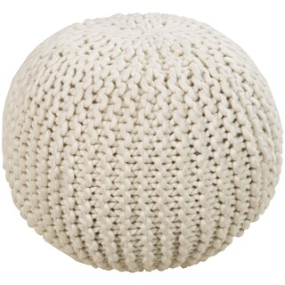 Solid Daly Round Wool 18-inch Pouf
