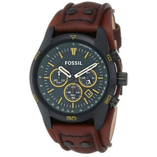 Fossil Men's Coachman Chronograph Forest Green Dial Brown Leather Watch CH2923