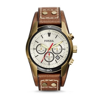 Fossil Men's Coachman Chronograph Beige Dial Brown Leather Watch CH2987