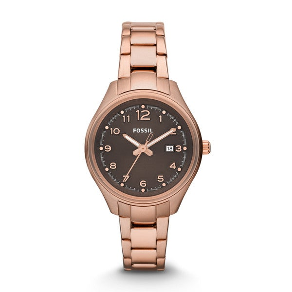 Fossil Women's Flight Mini Analog Brown Dial Rose-Tone Gold Stainless Steel Bracelet Watch AM4366