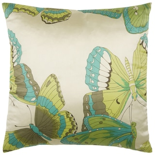 Rizzy Home Teal 18-inch Butterfly Throw Pillow