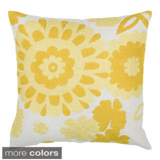 Rizzy Home Blue and Yellow 18-inch Floral Throw Pillow