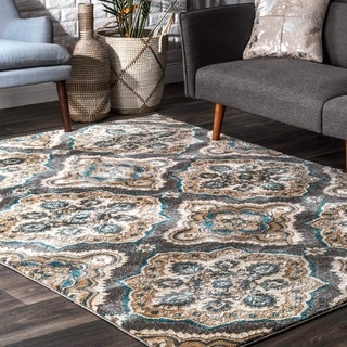 nuLOOM Treliis Floral Fancy Grey Rug (7'10 x 10'10)