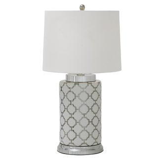 Moorish Patter White and Silver Ceramic Table Lamp
