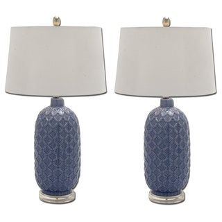 Bella Blue Trellis Ceramic Table Lamp (Set of 2)