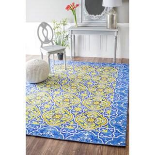 nuLOOM Geometric Fancy Spanish Tiles Blue Rug (8'2 x 11')