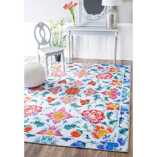 nuLOOM Fancy Floral Tiles Multi Rug (4' x 6')