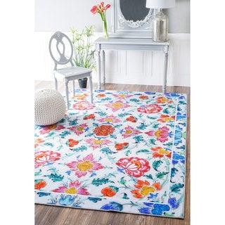 nuLOOM Fancy Floral Tiles Multi Rug (8'2 x 11')