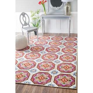 nuLOOM Geometric Fancy Spanish Tiles Pink Rug (5'5 x 8'2)