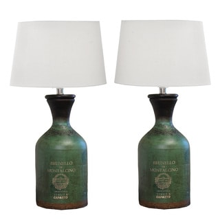 Brunello Handcrafted Terra Cotta Bottle Table Lamp (Set of 2)