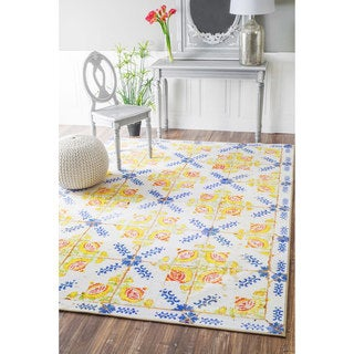 nuLOOM Geometric Fancy Portuguese Tiles Vintage Yellow Rug (8'2 x 11')