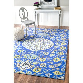 nuLOOM Geometric Fancy Tiles Blue Rug (5'5 x 8'2)