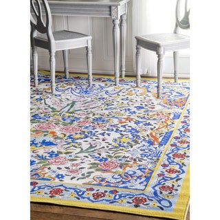 nuLOOM Fancy Floral Persian Tiles Multi Rug (7'5 x 8'2)