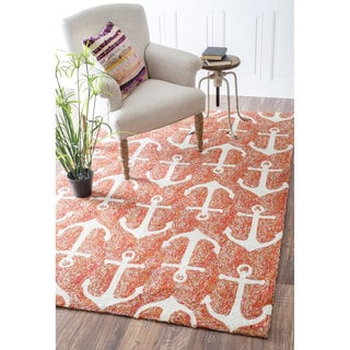 nuLOOM Indoor/ Outdoor Novelty Nautical Anchors Terra Area Rug (9' x 12')