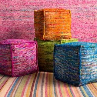 Striped Ness Square Chocho/Cotton 18-inch Pouf