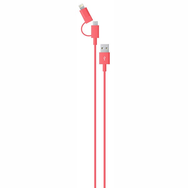 Red 2-in-1 MFi Certified Lightning and Micro USB Cable