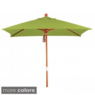 Somette 6-Foot Square Market Umbrella with Marenti Wood Frame and Sunbrella Fabric