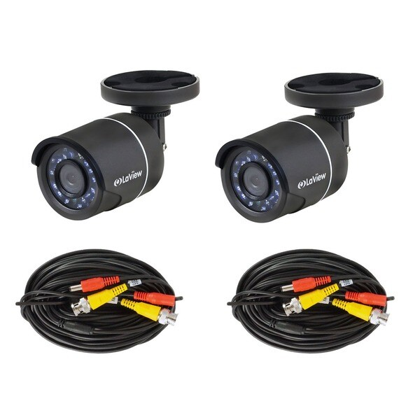 LaView HD 720p TVI Indoor/ Outdoor Weatherproof Night Vision Security Camera with Connector Cables (Pack of 2)
