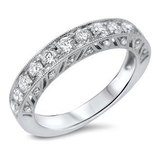 Noori 18k White Gold 4/5ct TDW Round Pave Diamond Wedding Band (G-H, SI1-SI2)