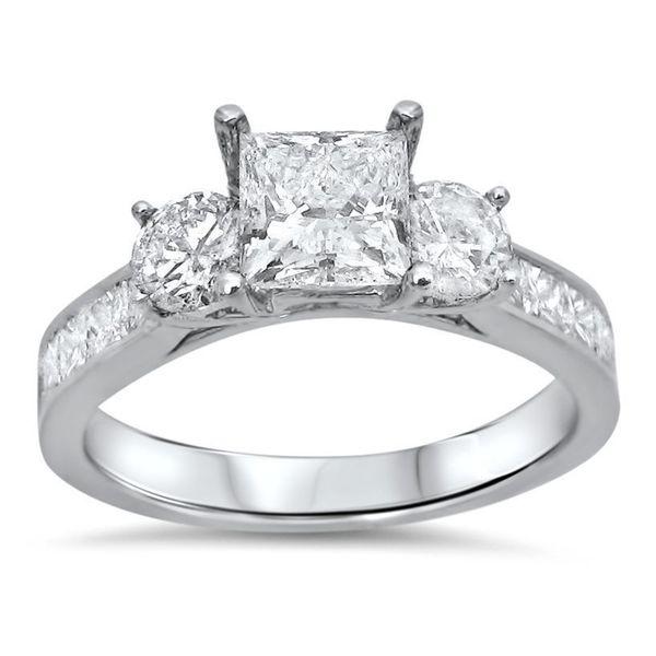 ... Princess Cut Diamond Clarity Enhanced 3 Stone Engagement Ring (G-H