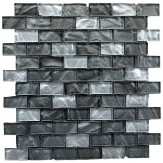 6 sq.ft. Mesh-Mounted Grey/ Silver Mosaic Wall Tile (Pack of 6)