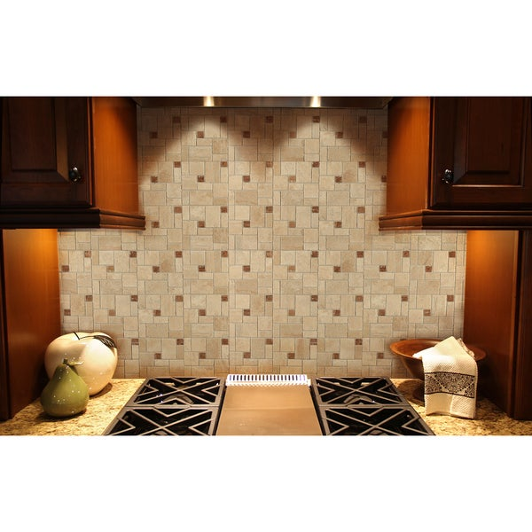 Instant Mosaic 12-inch x 12-inch Tan/ Beige/ Brown Peel and Stick Natural Stone Tile (6 sq.ft.)