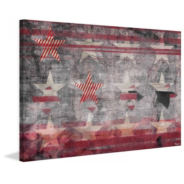 "Parvez Taj - ""Red Striped Stars"" Print on Canvas"