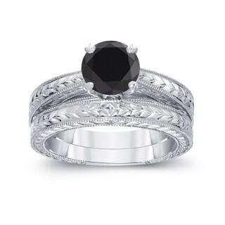 Auriya 14k White Gold 1ct TDW Round Black Diamond Bridal Ring Set (H-I, I1-I2)