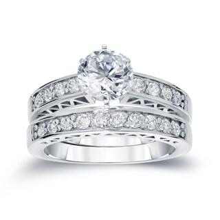 Auriya 14k White Gold 1 1/4ct TDW Round Diamond Bridal Ring Set (H-I, SI2-SI3)