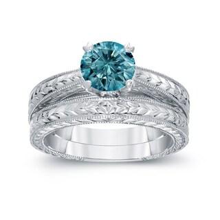Auriya 14k White Gold 1ct TDW Blue Diamond Bridal Ring Set (Blue, I1-I2)