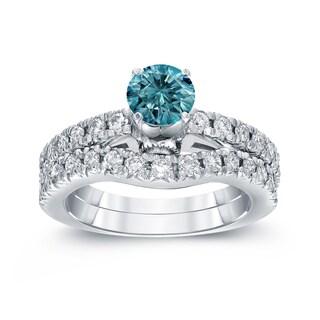 Auriya 14k White Gold 1 3/4ct TDW Round Blue Diamond Ring Set (Blue, SI2-SI3)