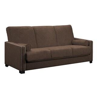 angelo:HOME Ellie Parisian Chocolate Brown Convert-a-Couch Futon Sofa
