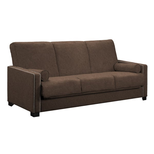 angelo:HOME Ellie Parisian Chocolate Brown Convert-a-Couch Futon Sofa