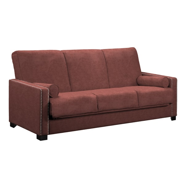 angelo:HOME Ellie Parisian Red Wine Convert-a-Couch Futon Sofa